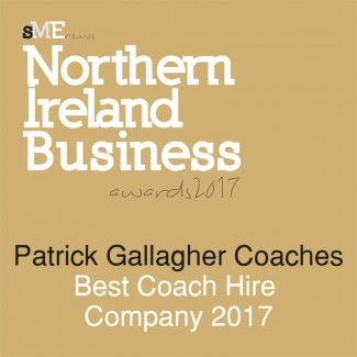 Best Coach Hire Company 2017 awarded by SME News Northern Ireland to Patrick Gallagher Coaches - Click to view Certificate